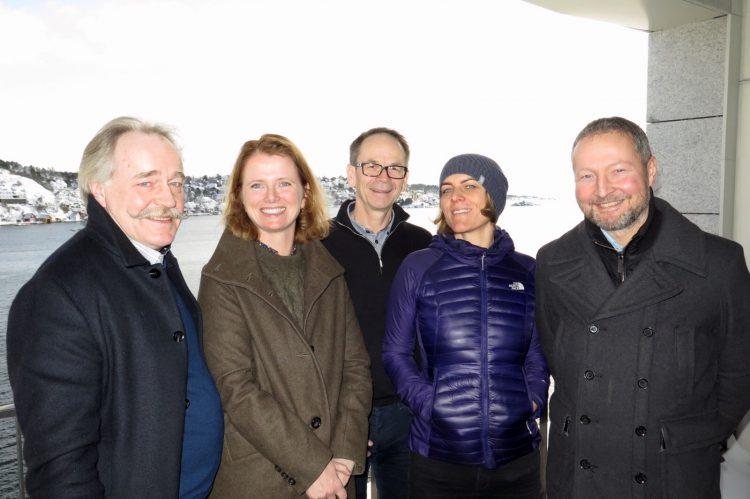 Bilete av f.v. Nils Aadland, Hege Økland, Lars Petter Maltby, Helene Fladmark og Ivan Østvik (bilde: Birte Runde, Eyde-klyngen).